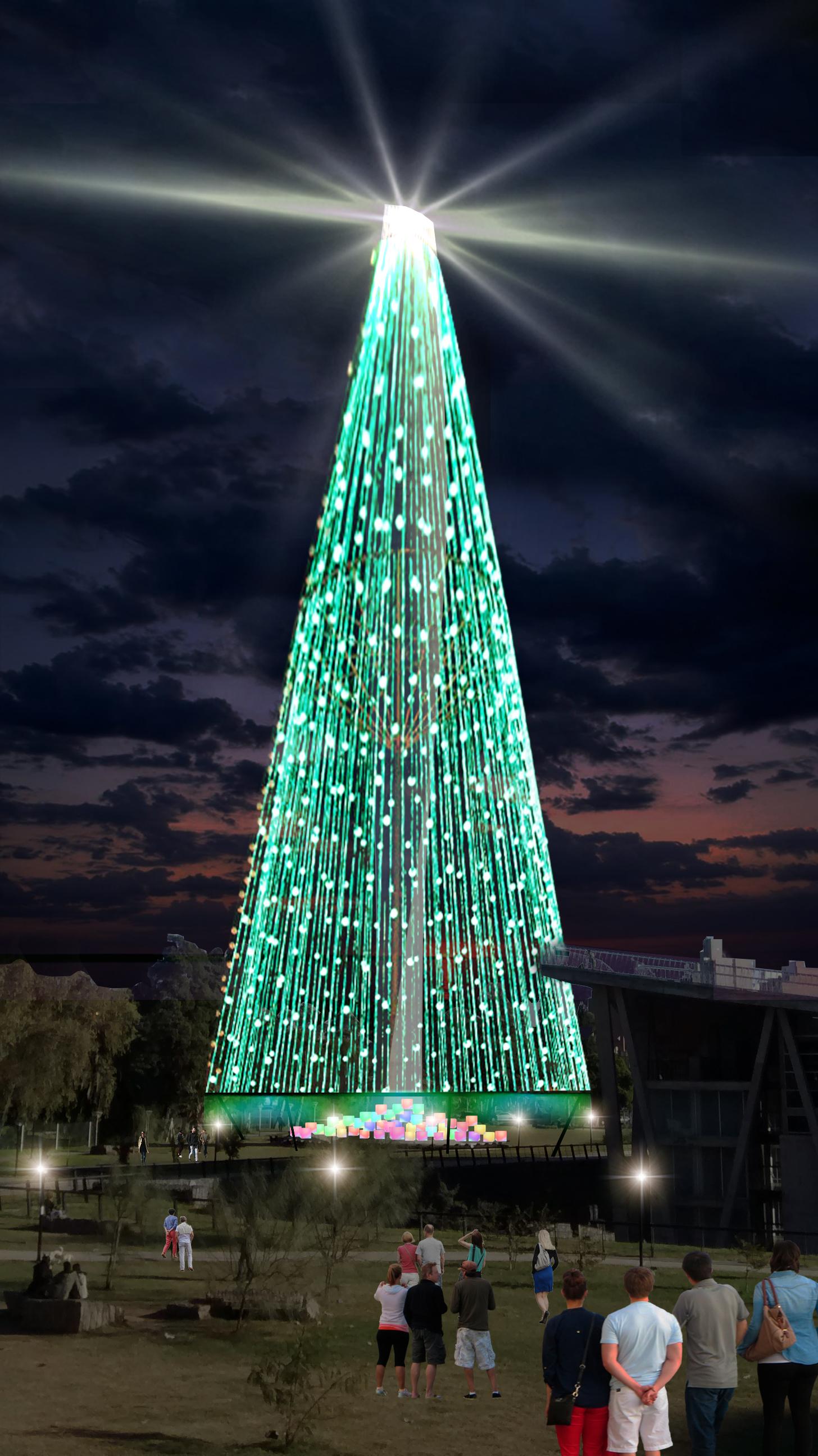 El rbol de navidad se muda al faro del bicentenario - Tiras led navidad ...