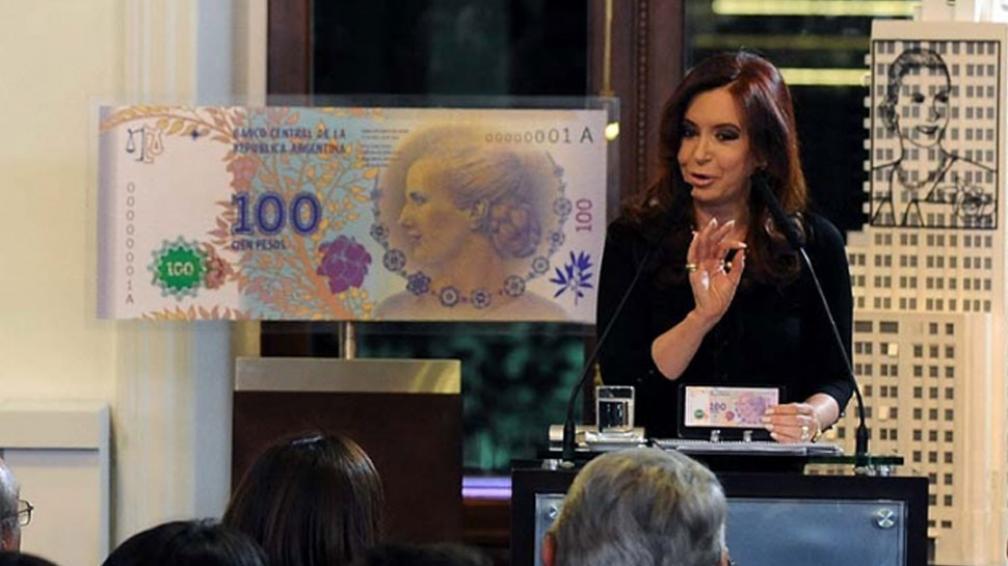 CRISTINA. Presentó el billete en la Casa de Gobierno (Télam).