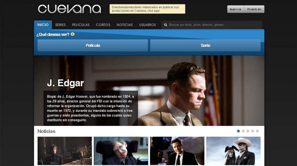 CUEVANA. Investigan al sitio por supuesta violación a la ley de propiedad intelectual (Captura web).