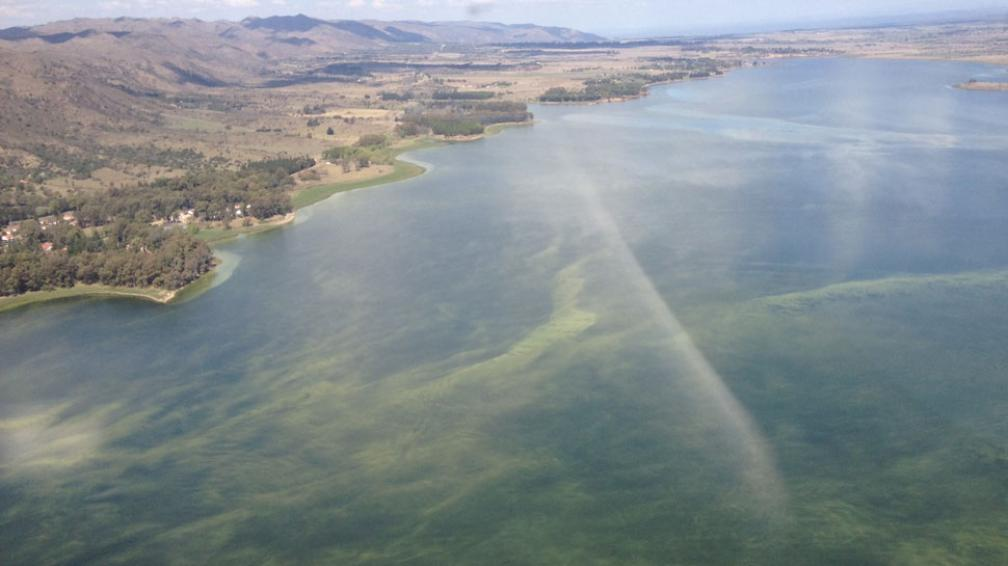 Manchado. Desde el aire, la imagen captada esta semana deja ver los enormes manchones verdes de algas en buena parte del lago (La Voz).