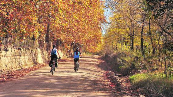 Los colores ocres y dorados del otoño acompañan la ruta de los ciclistas. Un circuito por las Sierras Chicas para disfrutar del paisaje.