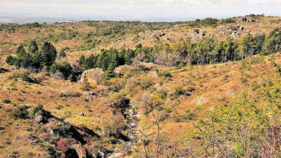 Serpenteante curso del río El Sauce y, a lo lejos, la cascada Quiroga.