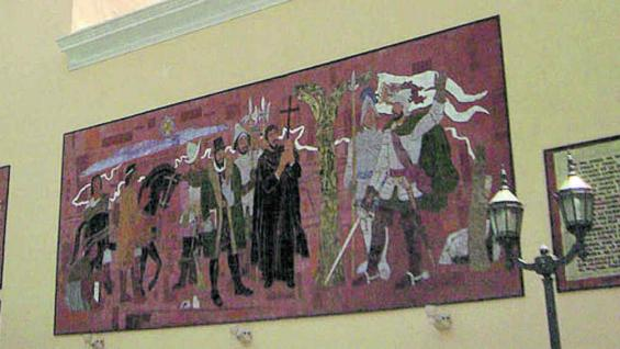 La historia de la fundación en los murales de la basílica Nuestra Señora de la Merced.