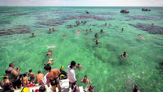 Mar adentro, el catamarán se detiene y muchos turistas se animan al snorkel en las aguas de fantásticos colores.