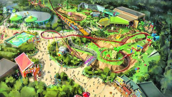 El render muestra parte de las 4,5 hectáreas de Toy Story Land en Disney's Hollywood Studios, Florida.