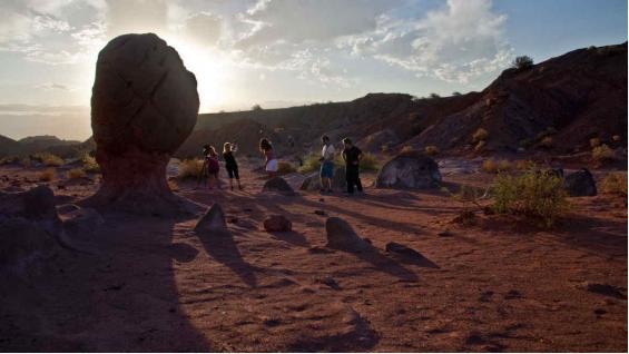 Escultura natural. La Copa del Mundo es una de las geoformas esculpidas por la naturaleza en el Vallecito Encantado. (Mario Rodríguez)