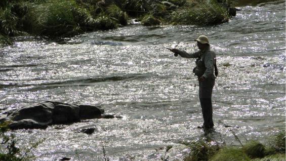 La pesca de trucha con devolución es una de las tantas actividades de turismo de aventura que se pueden realizar en la zona. (Guillermo Marinone)