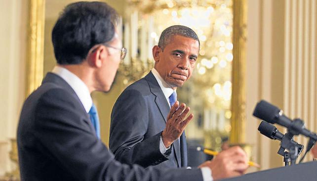 Seguro. Junto al presidente surcoreano, Obama afirmó que es indiscutible la acusación contra Irán (AP).