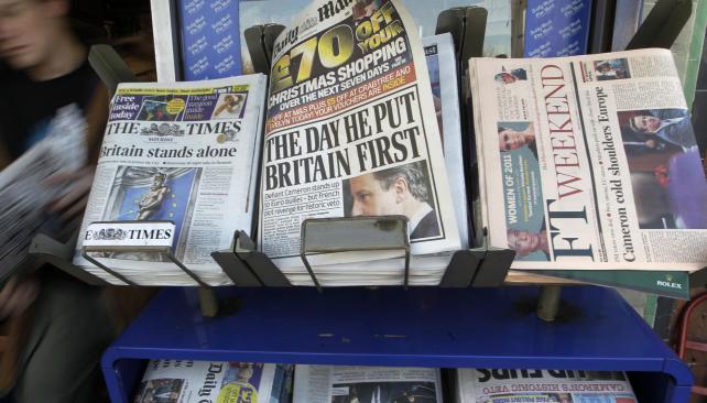 """Repercusión. """"El día que él puso a los británicos primero"""" fue uno de los títulos elegidos por la prensa gráfica británica (AP)."""