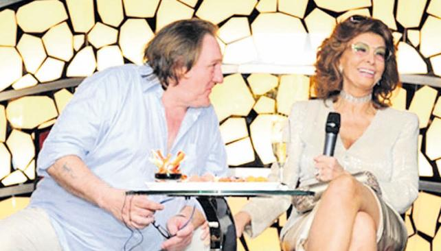 Sofía Loren y Gérard Depardieu, en el bautismo del MSC Divina.
