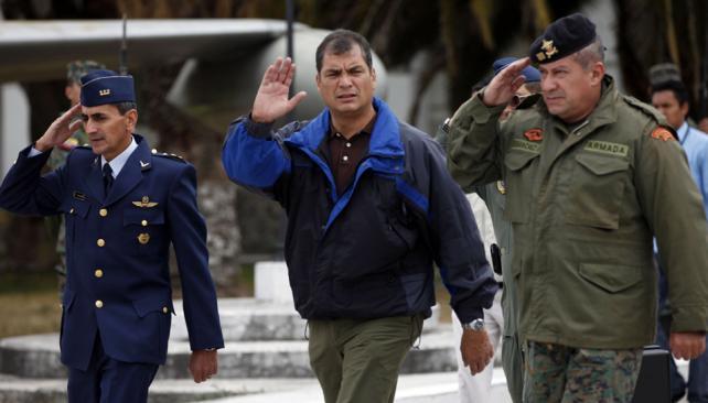 Duro. Correa dijo que el problema es que el gobierno británico no va a dar el salvoconducto a Assange (AP).