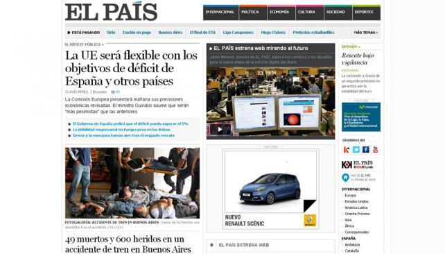 EL PAÍS. El diario español lleva entre sus noticias principales la tragedia ocurrida esta mañana en Buenos Aires (Captura web).