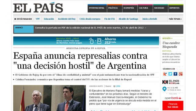 EL PAÍS. Informa la decisión del gobierno español (Captura Web).