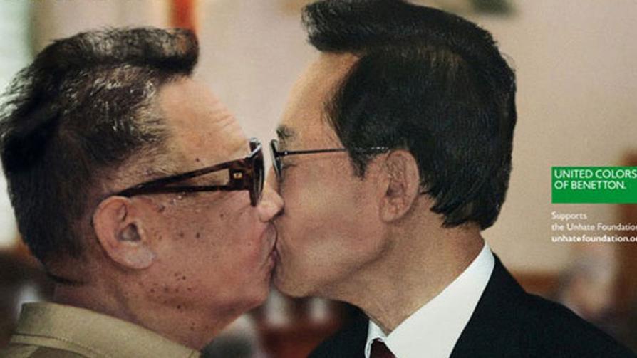 """BENETTON. Campaña """"contra el odio"""". Mandatarios de Corea del Norte y Corea del Sur."""